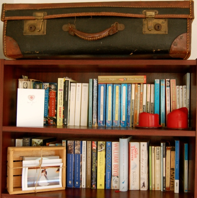 decluttering bookshelves