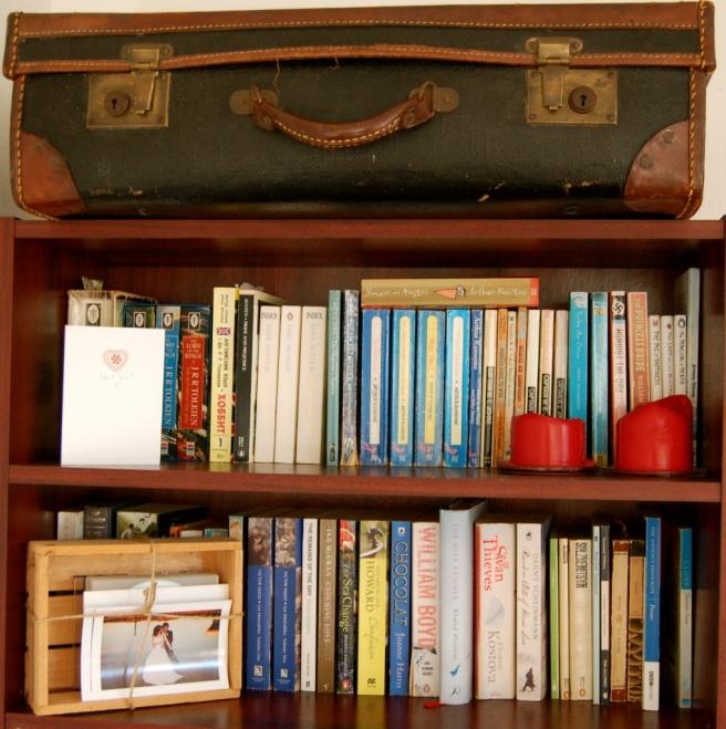 decluttering bookshelves