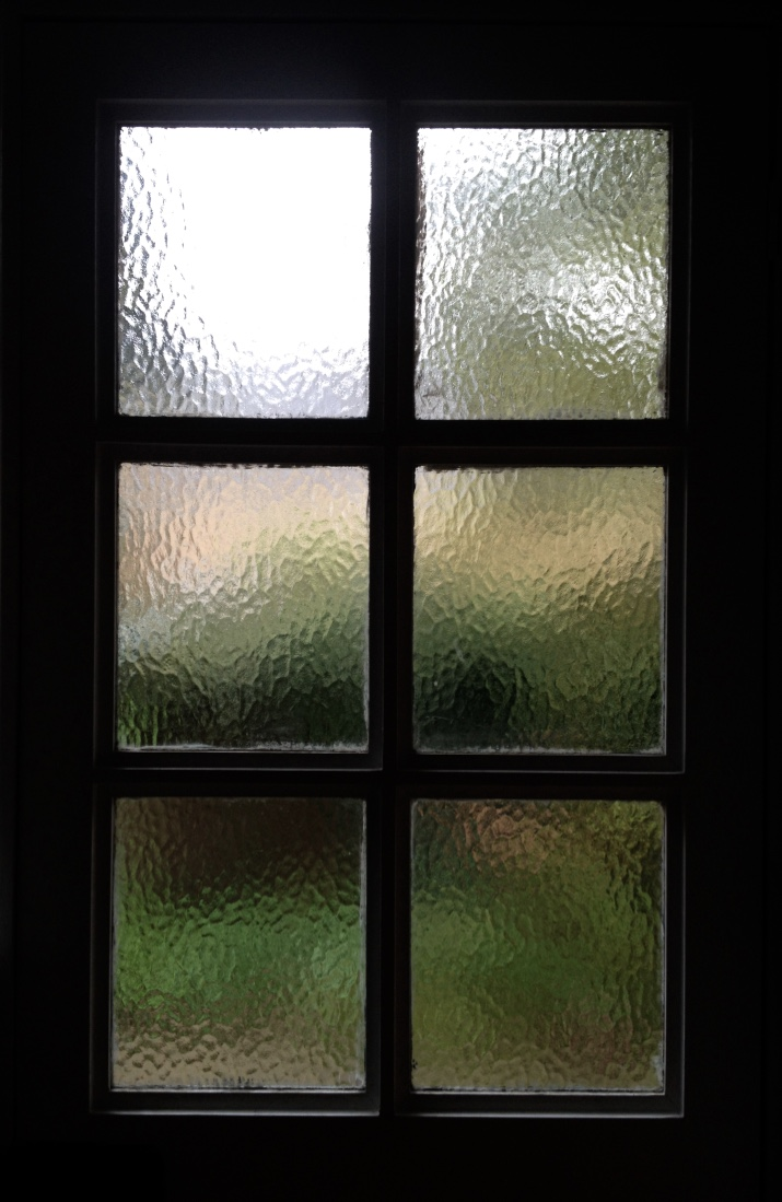 Photograph of a window with six panes of glass, taken from the inside of the building. The panes of glass are frosted so you can only just see the outline of greenery outside.